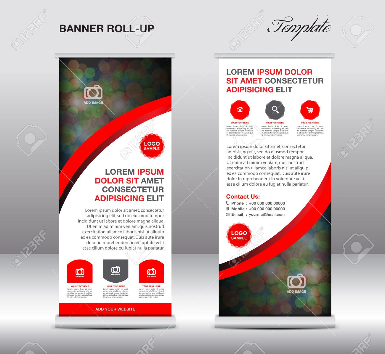 Stand Up Banner Designs : Green and blue roll up banner stand template design