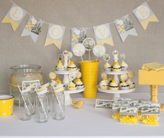 Yellow and gray bridal shower ideas bridal showers decoration and paper pip 15 junglespirit