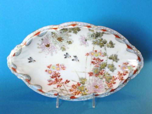 SOLD! Oval-Scalloped-Dish-Bluebirds-In-Garden-Hand-Painted-With-Moriage-Beading