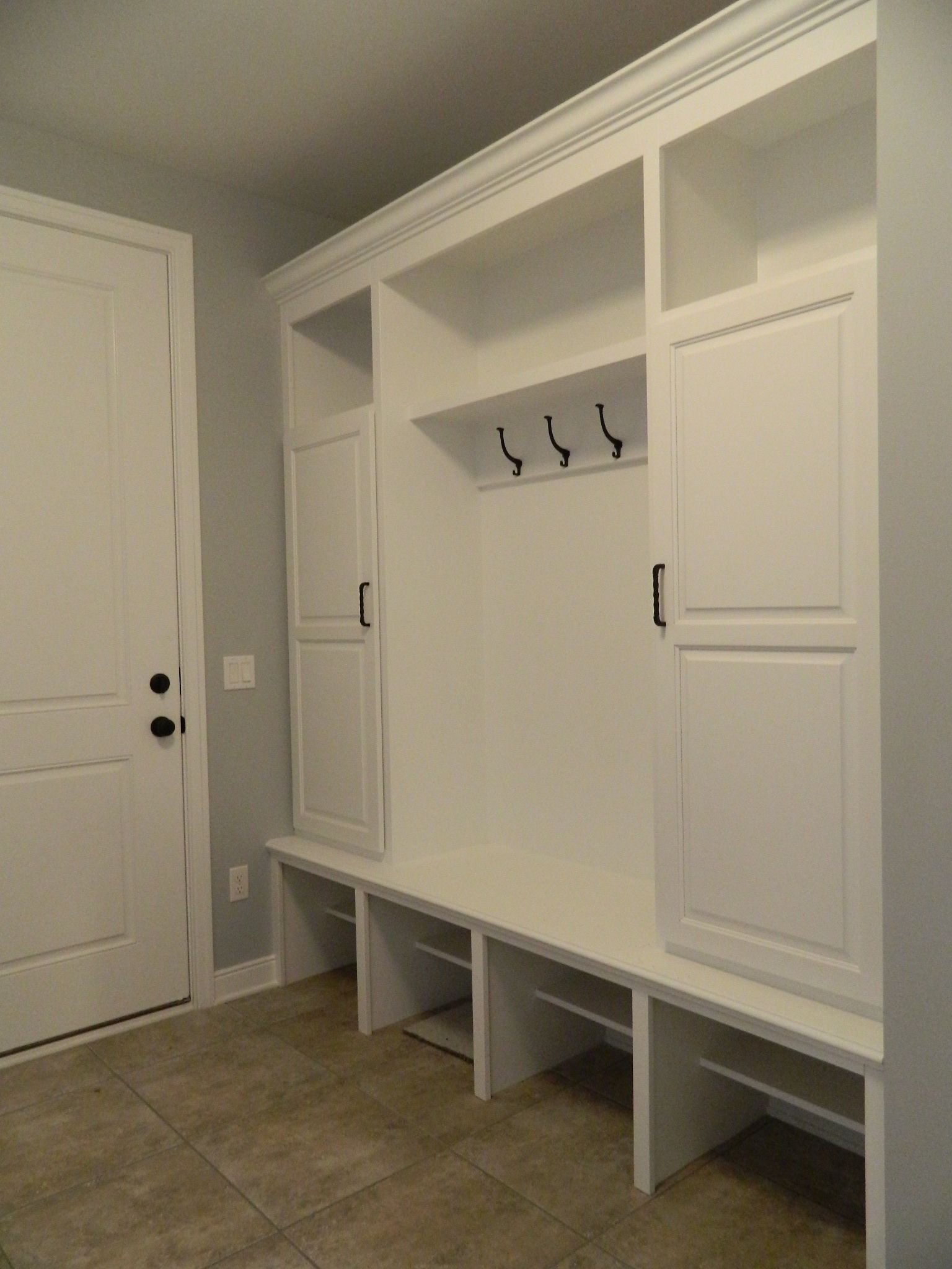 Ceramic Tile Custom Built In Painted White With Crown Molding Oil