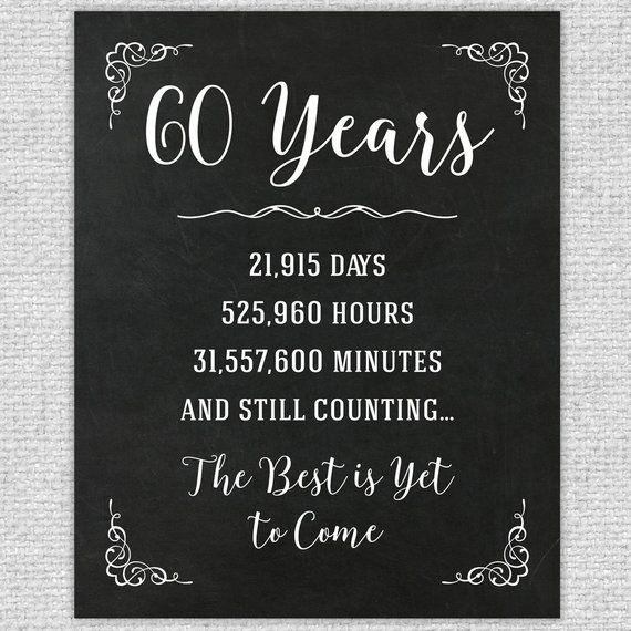 60th Anniversary Gift 60th Year Wedding Anniversary 60th