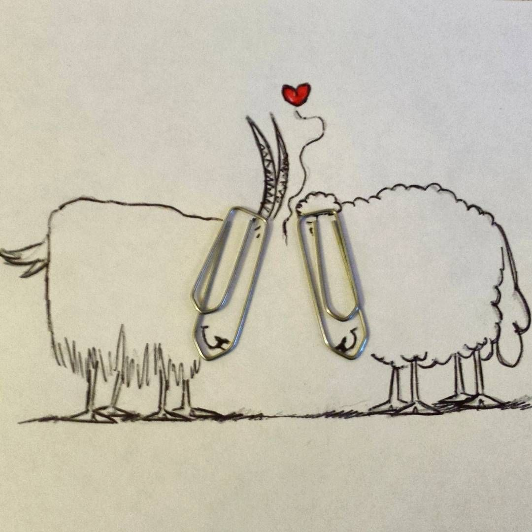 draw #art #drawing #paperclips #ataş #sheep #koyun #keçi #resim