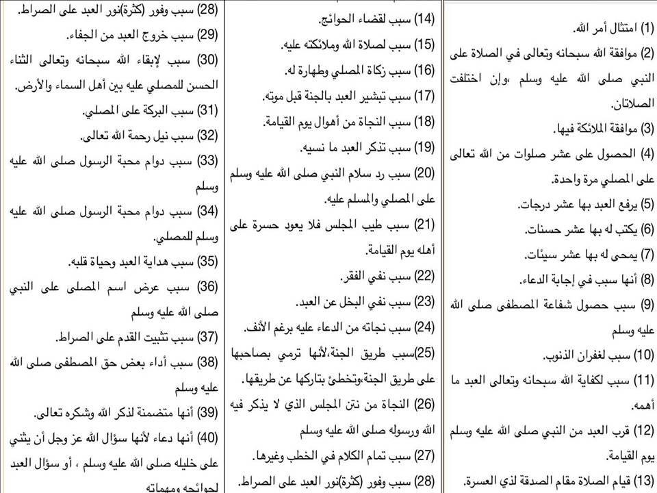 40 فائدة  للصلاة على النبي عليه الصلاة و السلام  لابن القيم