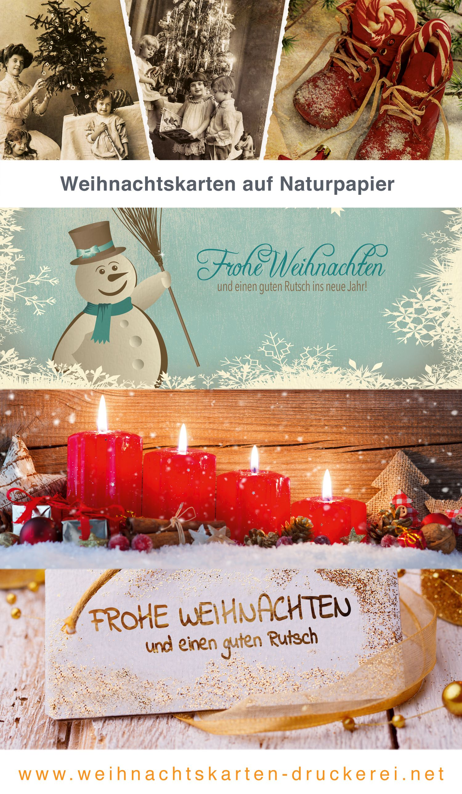 Weihnachtskarten Naturpapier für Firmen www.weihnachtskarten-druckerei.net