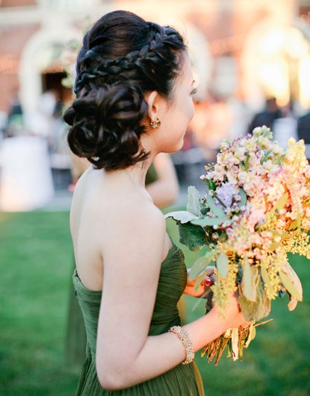Brides: Hairstyles for Bridesmaids: Braided Updo  I really like this updo for Britts wedding.