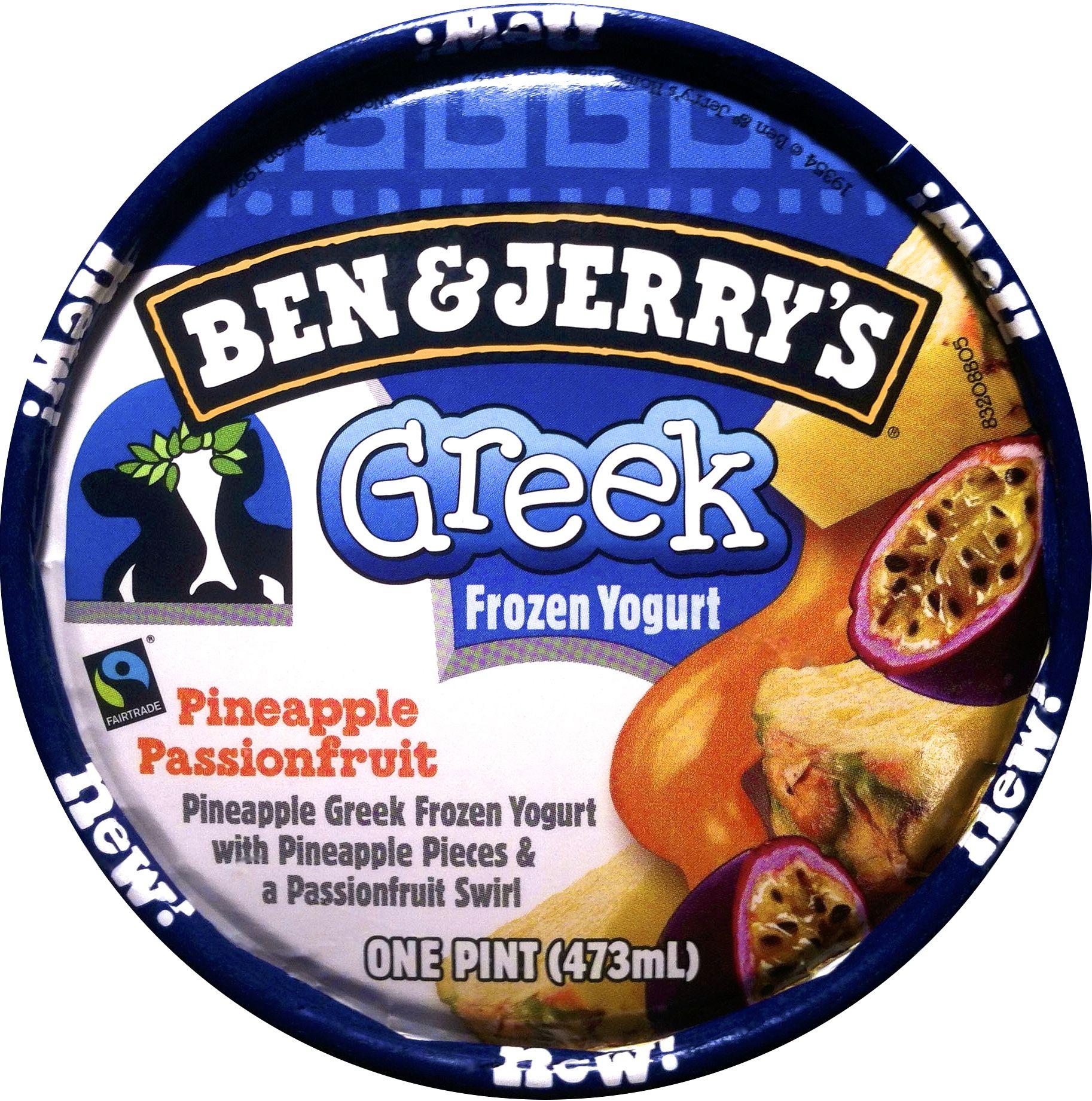 Ben jerrys pineapple passionfruit greek frozen yogurt