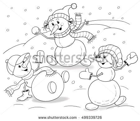 Cute funny snowmen playing snowballs. Greeting card for Christmas or New Year. Illustration for children. Coloring book. Coloring page. Funny cartoon characters.