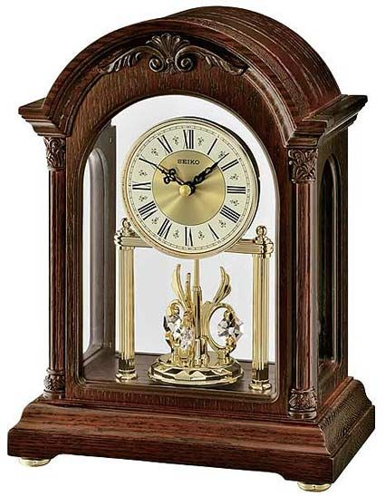 This New Qxn224blh Arched Top Seiko Anniversary Clock Is Finished In A Dark Brown Oak Finish With Glass Crystal Front And Clock Anniversary Clock Mantel Clock