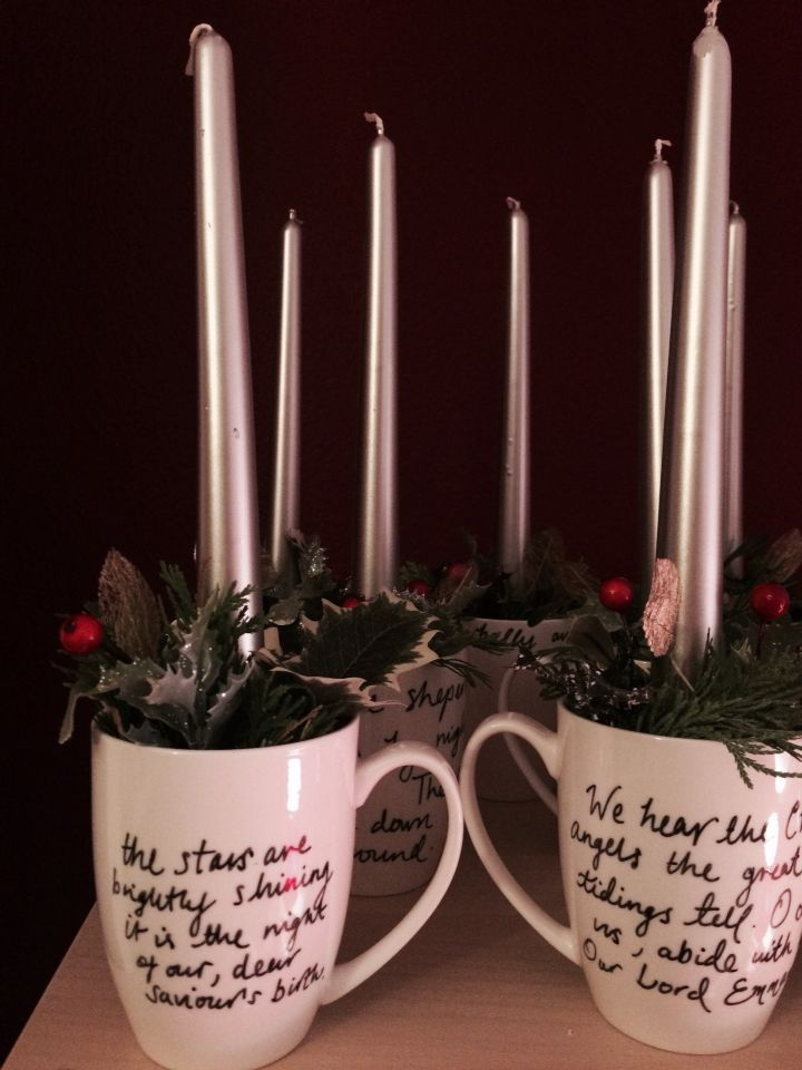This is the finished product, created by Olivia for the event. Stunning Christmas Candle in a Mug!