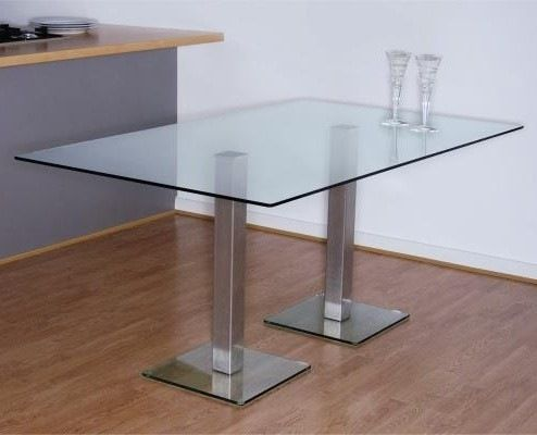 Dundee Dining Table X Mm With Stainless Steel Pedestals - Single pedestal rectangular dining table