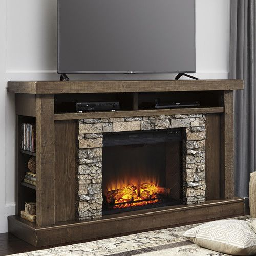 Features Shelf Storage On Both Sides Offer Semi Hidden Media Storage Fireplace Tv Stand