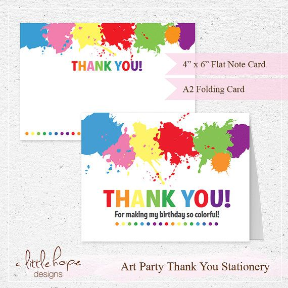 Art Party Thank You Cards 2 sizes / Art Party Printable Stationery ...