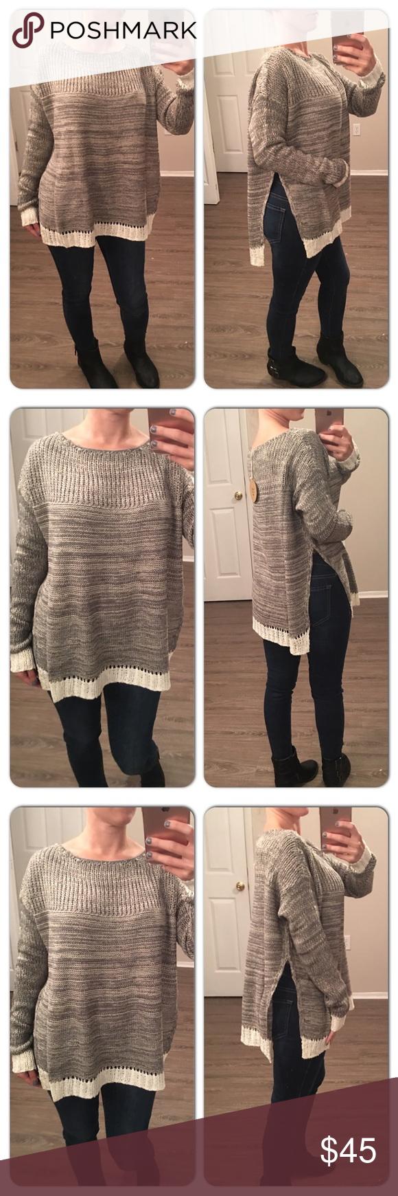 🎉HP🎉Cozy Split Sides Crochet Knit sweater Boutique | White ...