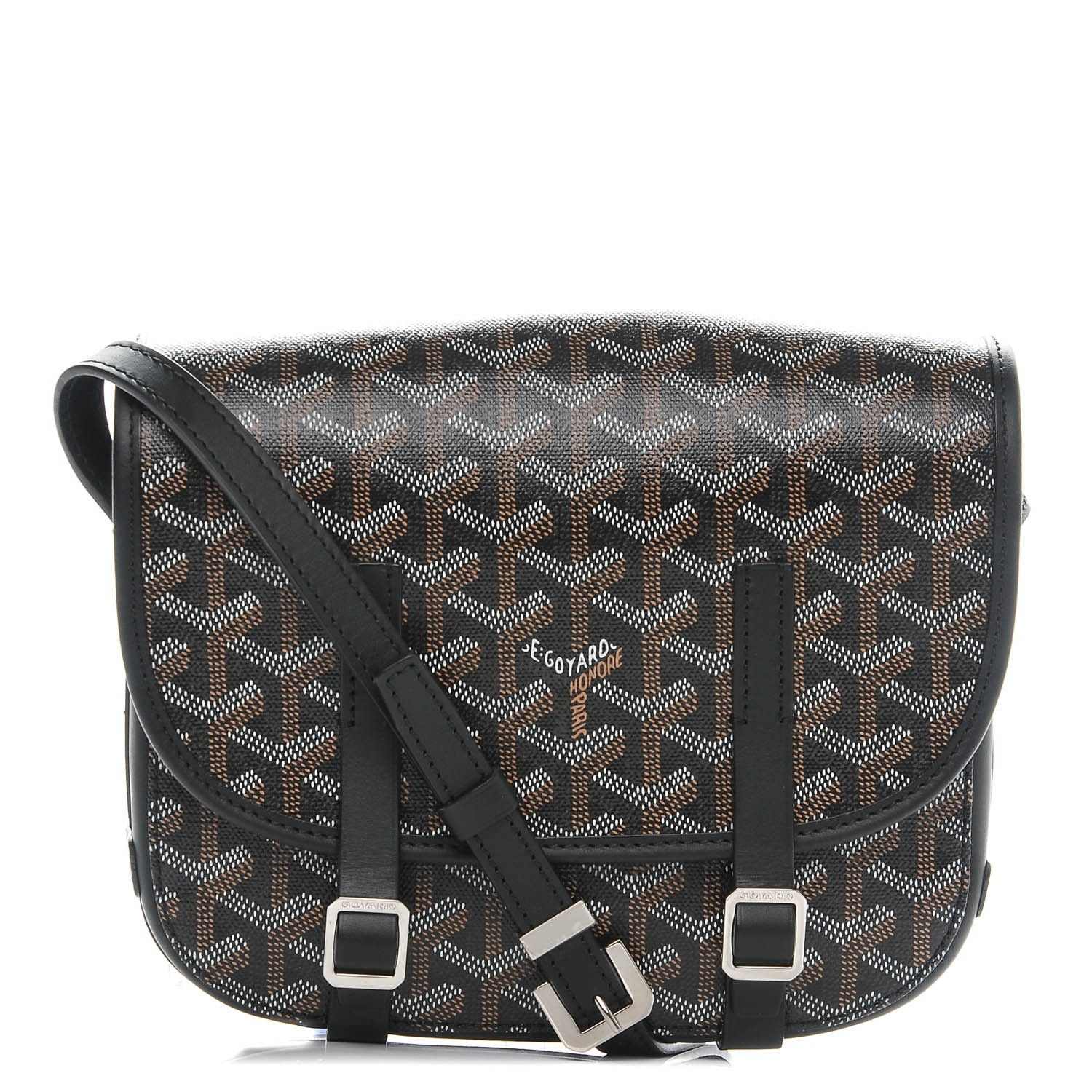 f4d6acaa This is an authentic GOYARD Chevron Belvedere PM Messenger Bag in Black  This stylish messenger bag is crafted of classic Goyard monogram chevron  canvas in ...