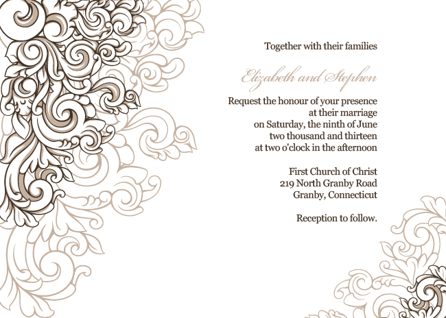 FREE PDF Download Scrolling Border Wedding Invitation Template is
