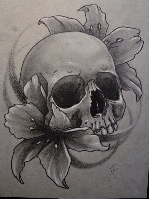 Skull Flowers Drawing Art Skull Rose Tattoos Small Skull Tattoo Skulls Drawing