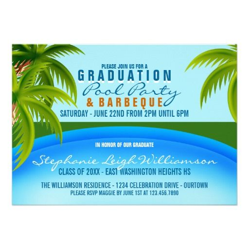 Graduation Pool Party Ideas get the full tutorial here Graduation Pool Party Card