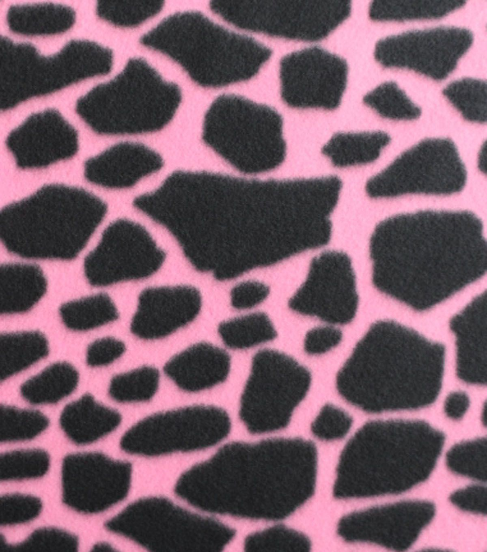 Blizzard fleece fabric giraffe print on pink christmas