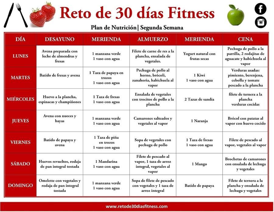 PLAN NUTRICIONAL PARA BAJAR DE PESO   SEGUNDA SEMANA – Reto de 30 días Fitness