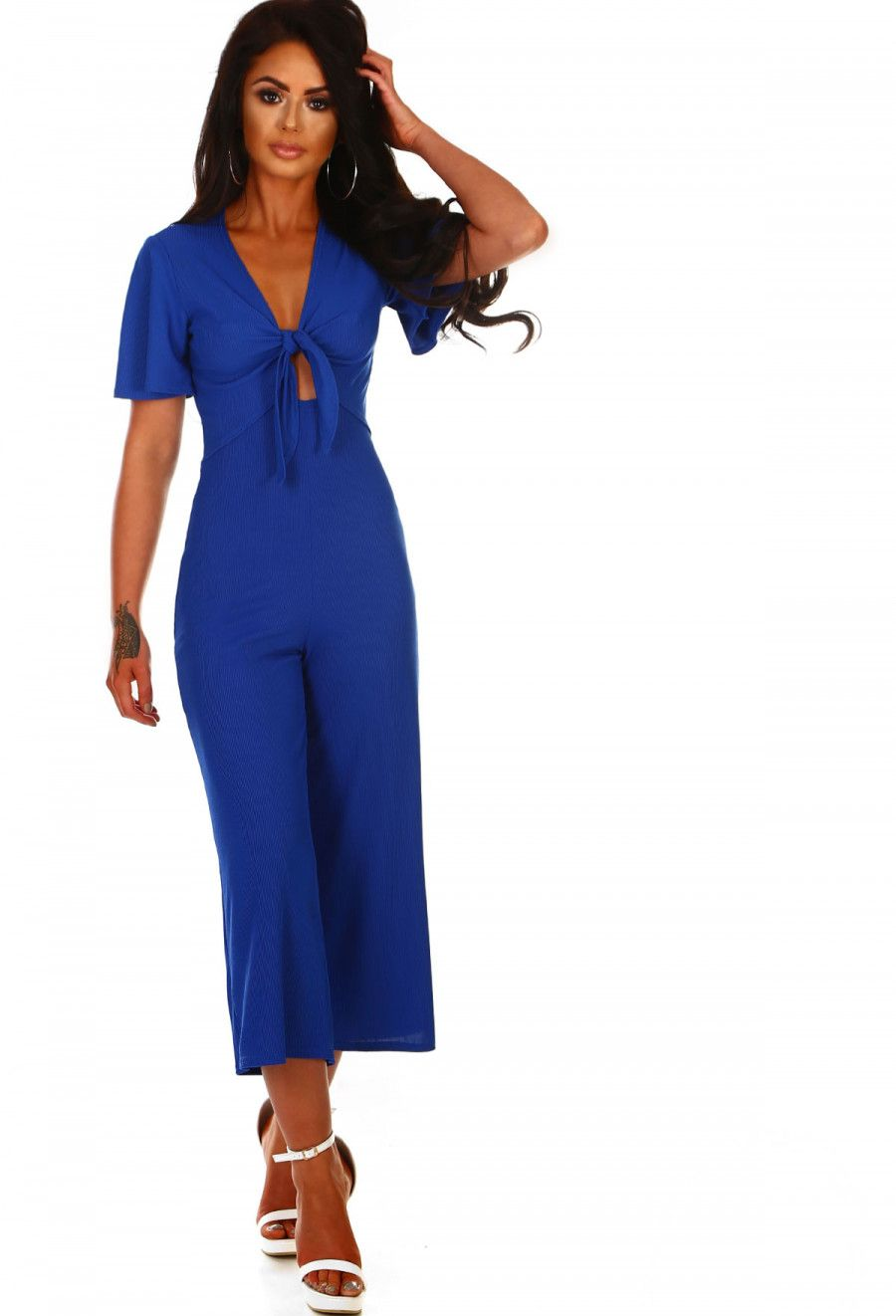 e456f09b6207 Came To Slay Cobalt Blue Ribbed Tie Front Culotte Jumpsuit ...