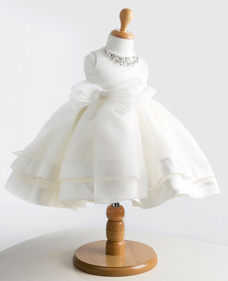Cheap Vestido Del Bebé blanco Cristal y Arco 1 Año Vestido de Cumpleaños  Vestido Del Desfile Del Bebé 0ae27d168f14
