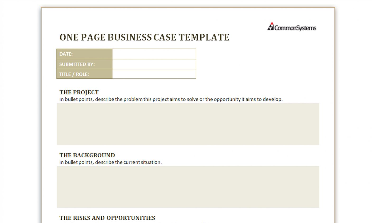 The wonderful Free Download One Page Business Case