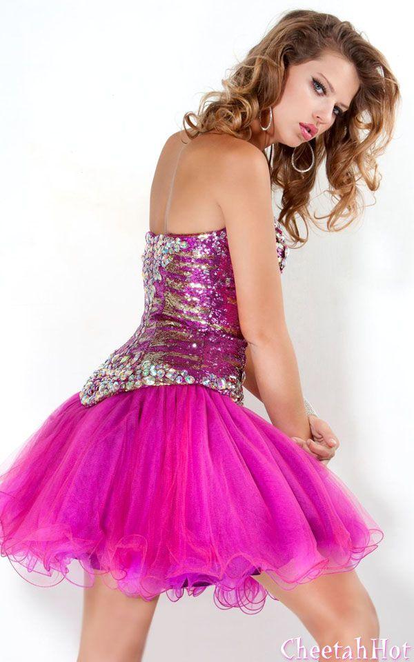 JOVANI - Chiffon Ruffle Gown - Fuchsia/Multi   2014 Color of the ...