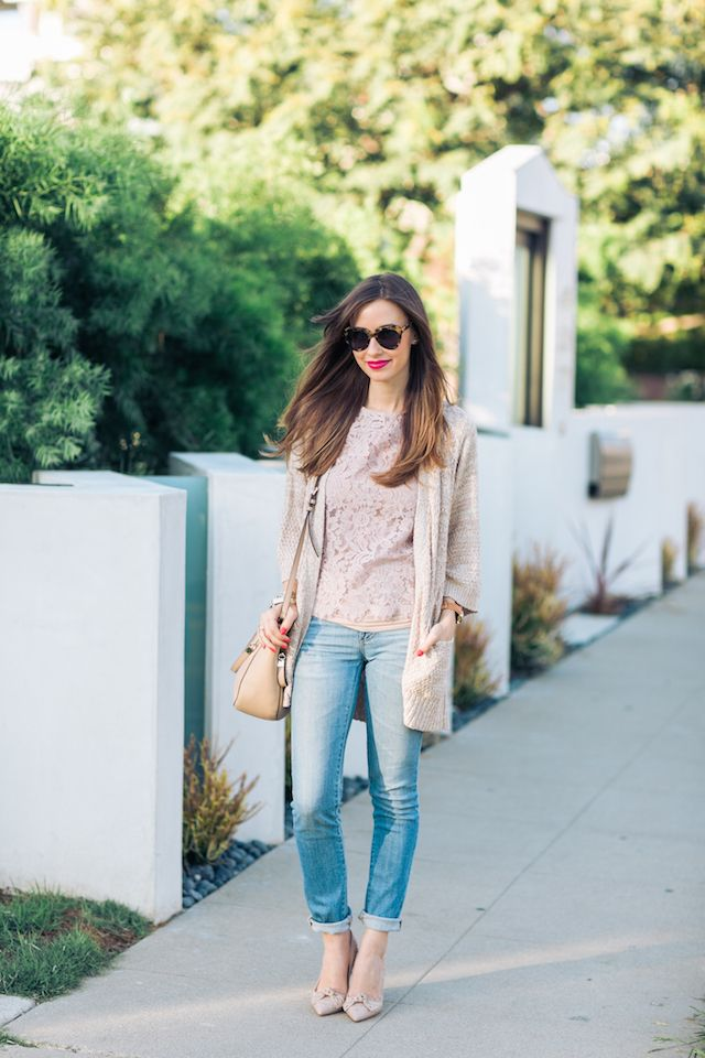 beige lace top 2017 with jeans