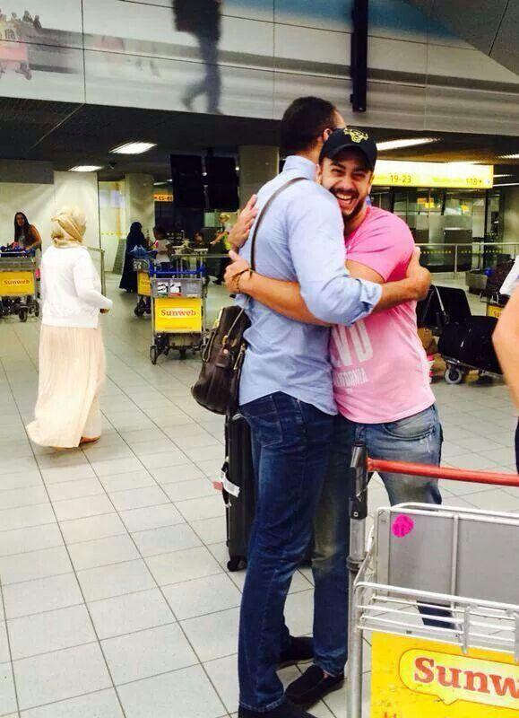 Badr hari at the airport with saad lamjarred