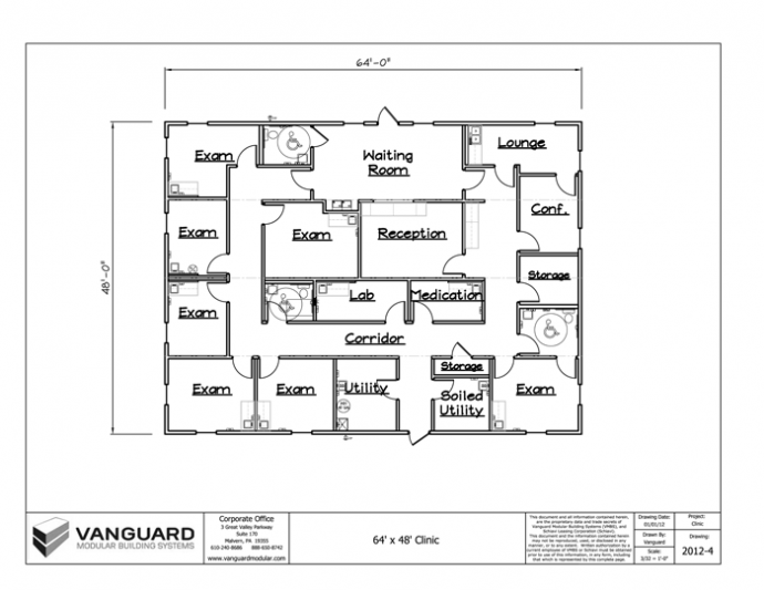 64' x 48' Clinic Building Floor Plan | Permanent Modular