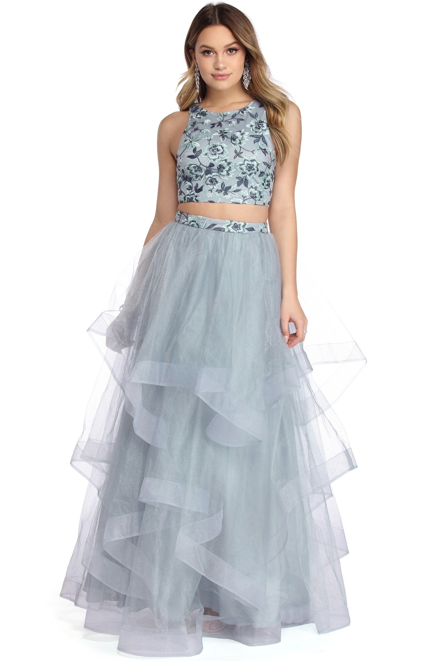 Final Sale Sienna Light Blue Tulle Two Piece Dress Two Piece Dress Womens Prom Dresses Prom Dresses [ 2247 x 1500 Pixel ]