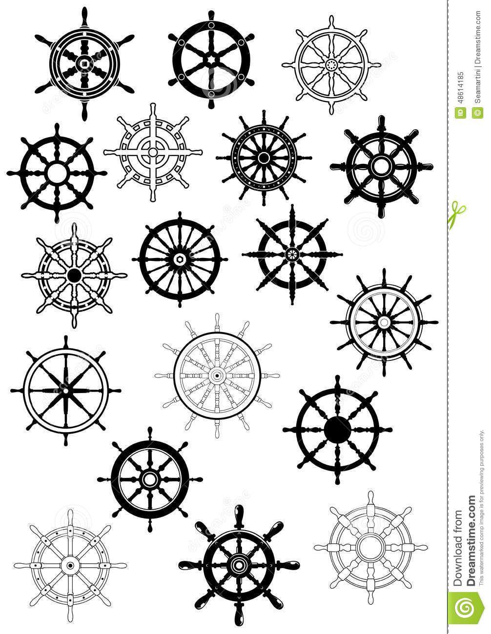 Ship Wheel In Retro Style Icon Set Ship Wheel Tattoo Wheel Tattoo Pirate Tattoo