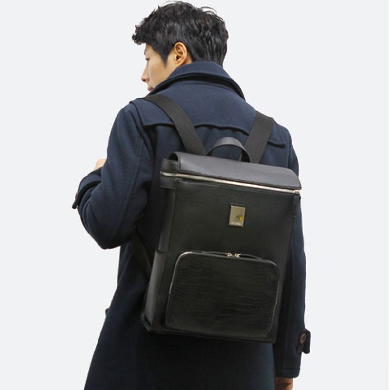 Business Backpack for Men Leather Laptop Bag HARIBON 397 (13 ...