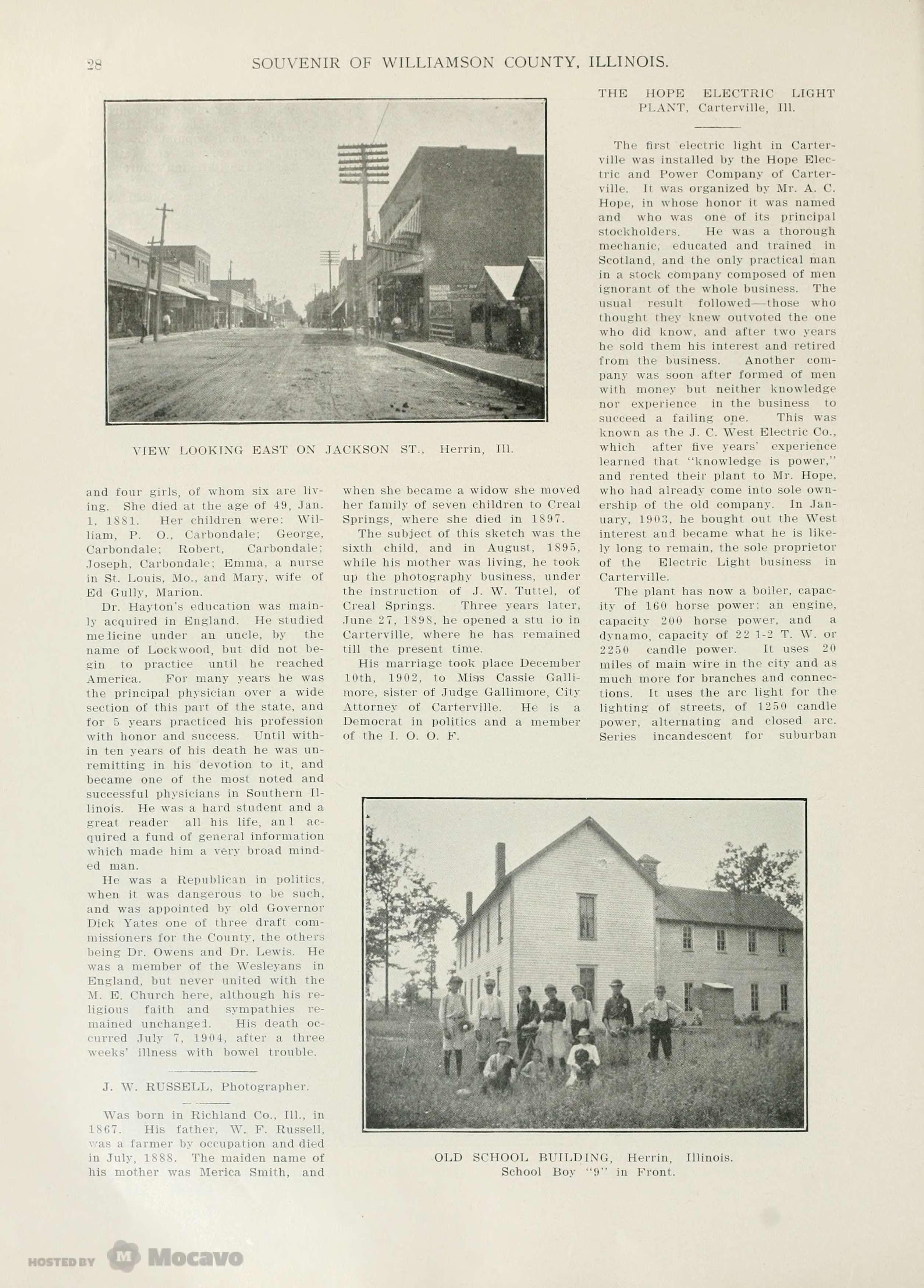 Historical Souvenir Of Williamson County Illinois Page 208 Document Viewer Jackson St Williamson County Illinois