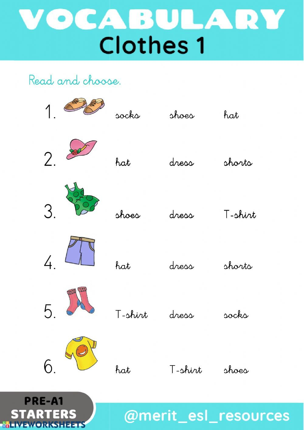Clothes Read And Choose Interactive Worksheet In 2020 English As A Second Language Learning English For Kids Math Live