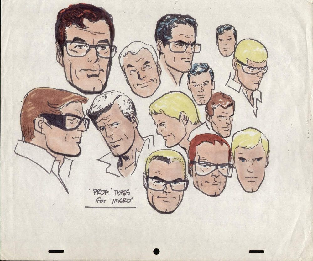Alex Toth Professor Micro Head designs Comic Art