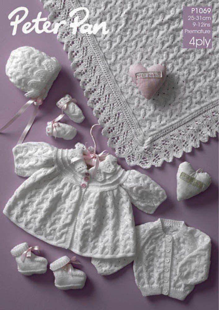 c52ea41652aa Peter Pan 4ply Pattern P1069 - Premature Baby Set - Matinee Coat ...