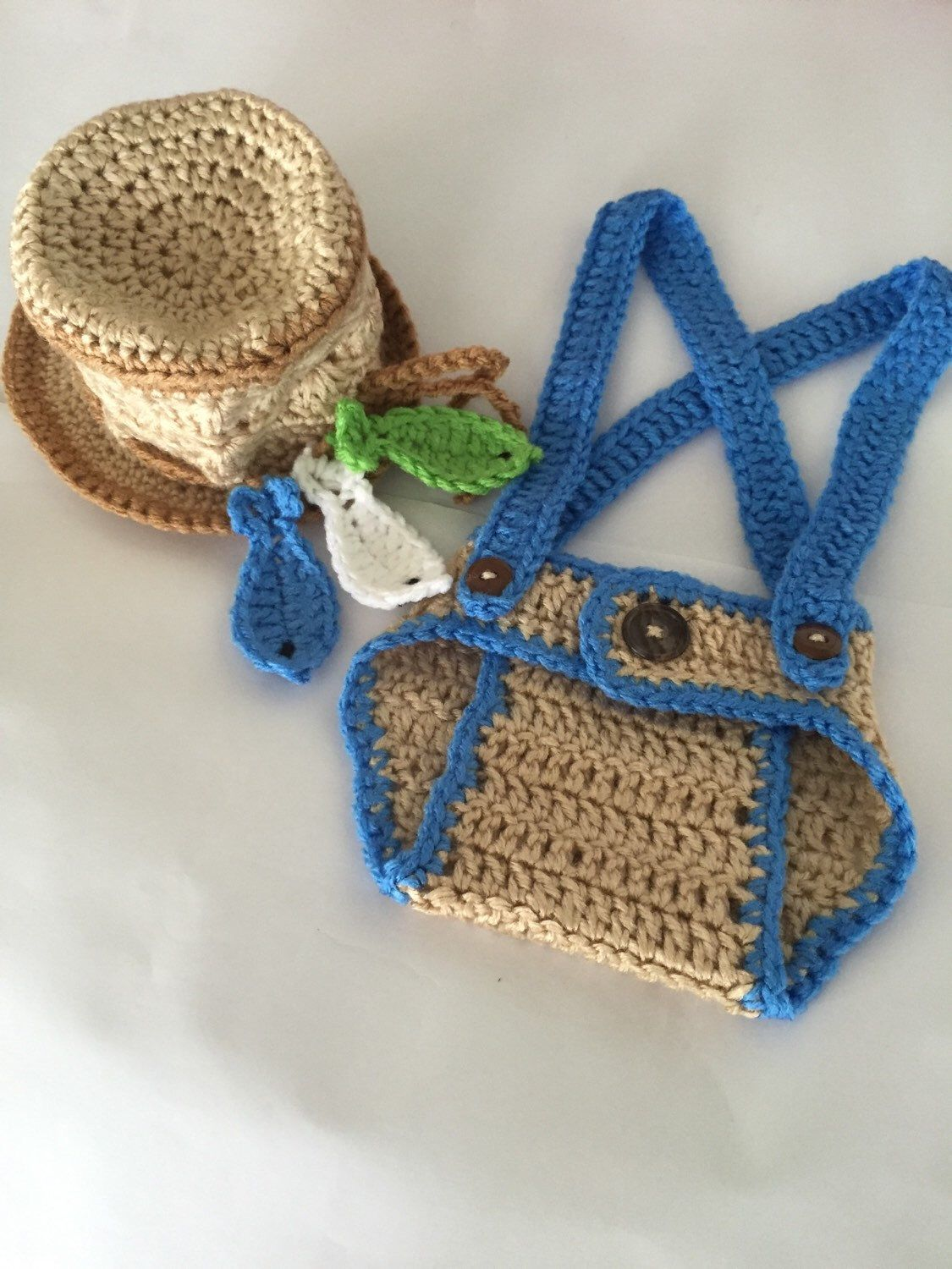 Crochet Fisherman Outfit Crochet Hat And Diaper Cover Two Piece