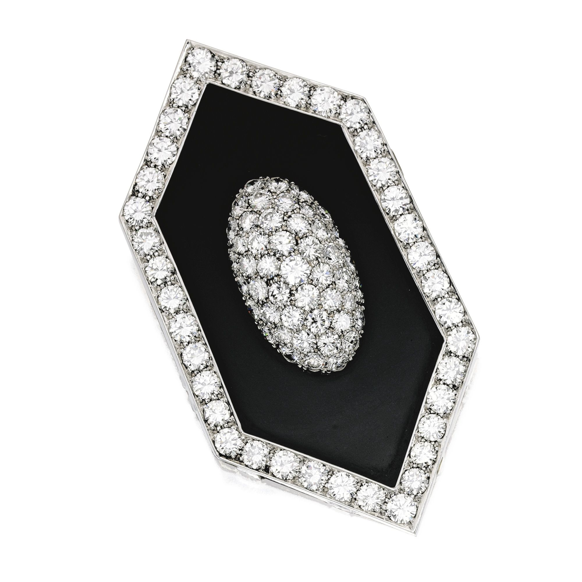 18 KARAT WHITE GOLD, ONYX AND DIAMOND PENDANT-BROOCH. The navette-shaped pendant-brooch centered and framed by numerous round diamonds weighing approximately 21.75 carats, with brooch fitting and pendant hooks, circa 1970.
