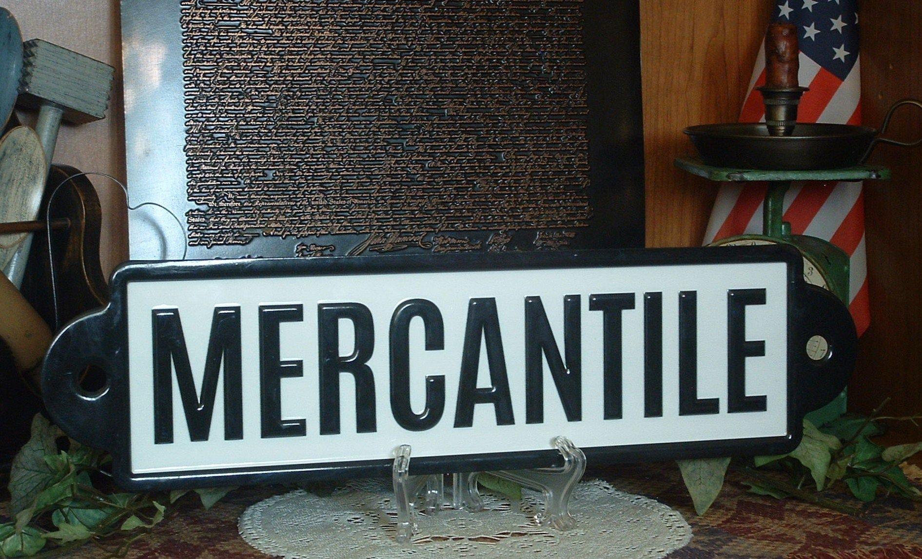 Country farmhouse black white enameled metal mercantile