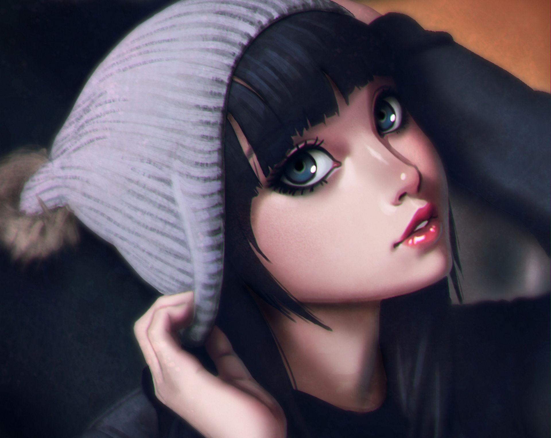 big blue anime eyes | pin view anime brunette girl art hd wallpaper