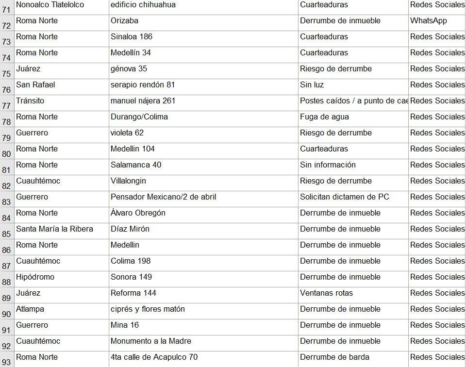 Hay 23 edificios en peligro y estas son sus ubicaciones.
