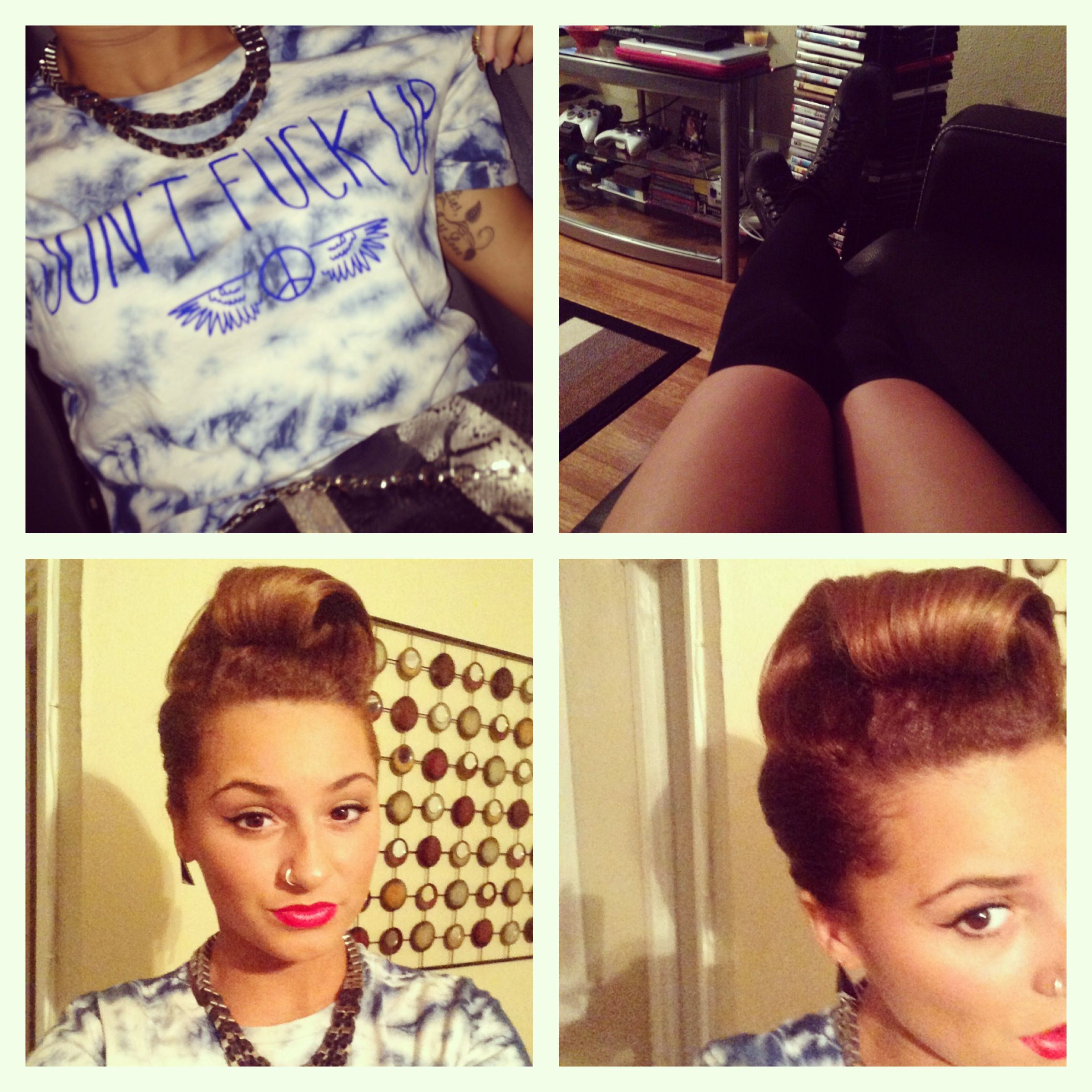 Outfit of the night  urban outfitters, jeffreys- big LITAS and victory rolls