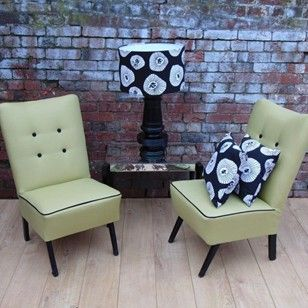 Pair Re-upholstered 1950s English Cocktail Chairs - The Hoarde