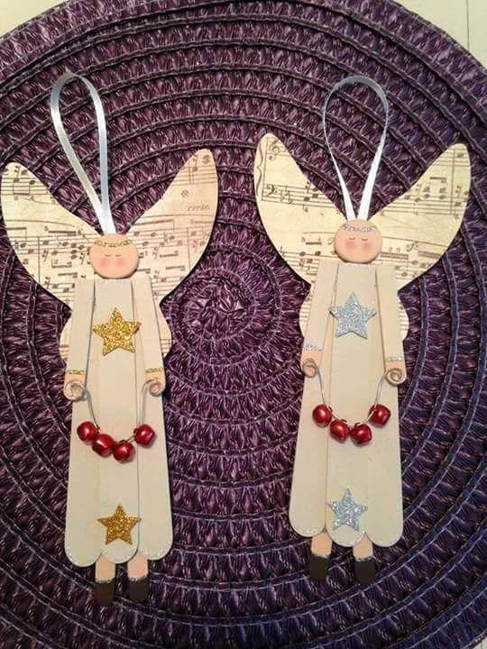 Ángel de madera bastelmaterial bastelholz bricolaje pintar decorar Navidad