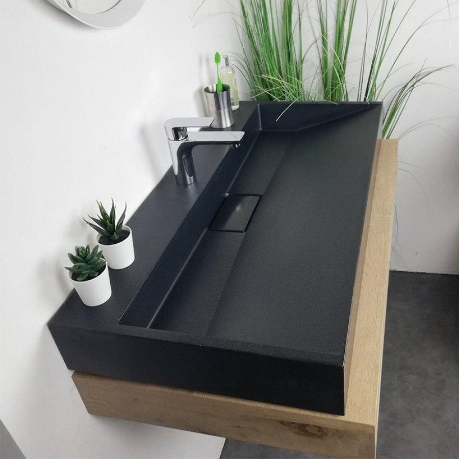 Vasque A Poser Rectangulaire 90 Cm Noir En Pierre De Synthese Amelya Meuble Pour Vasque A Poser Vasque Salle De Bain Vasque A Poser