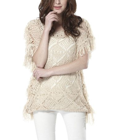 Look what I found on #zulily! Beige Crochet Fringe Top by Simply Couture #zulilyfinds