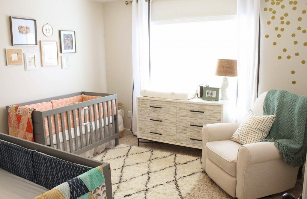 Bedroom Interesting Dresser And Changing Space Inside Cool Gender Neutral Ideas With Grey Cribs Colorful Bedding Near Comfy Sofa On Simple
