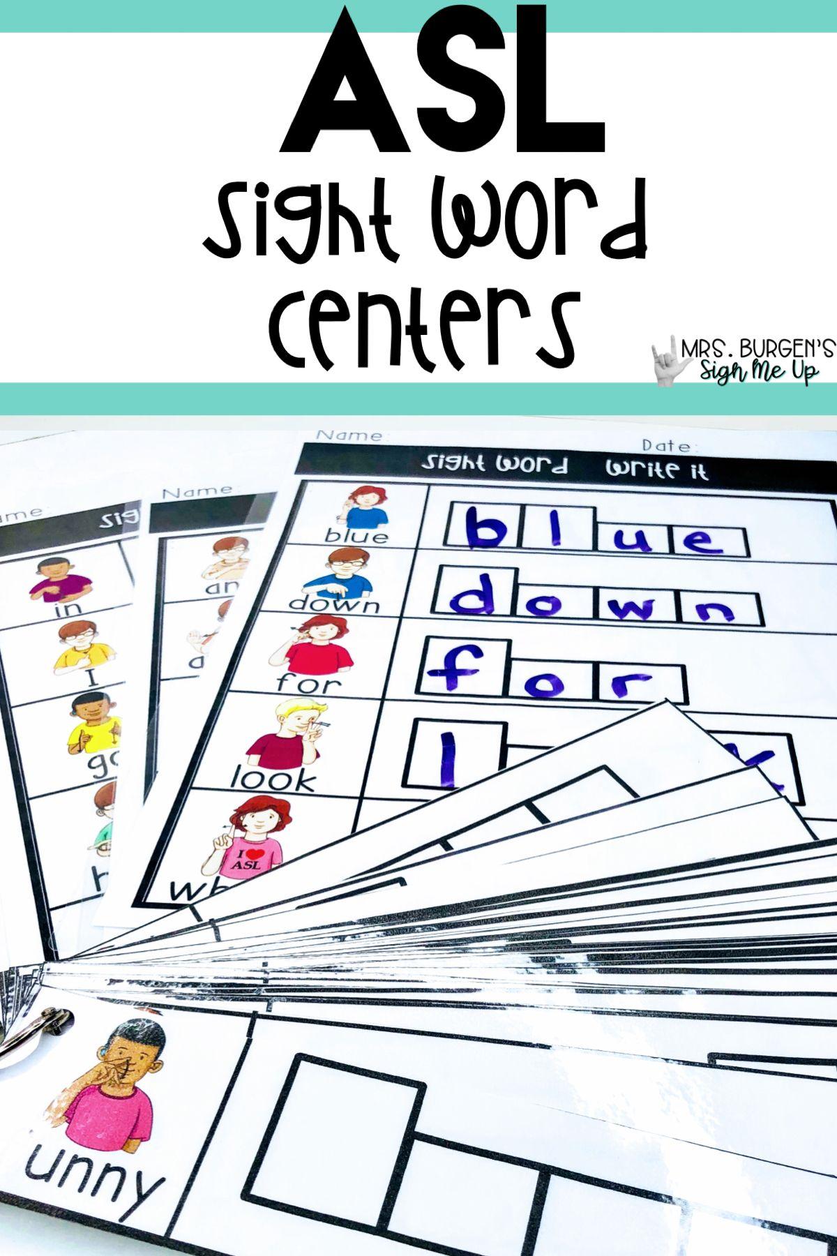 Asl Sight Word Centers Preprimer Bundle