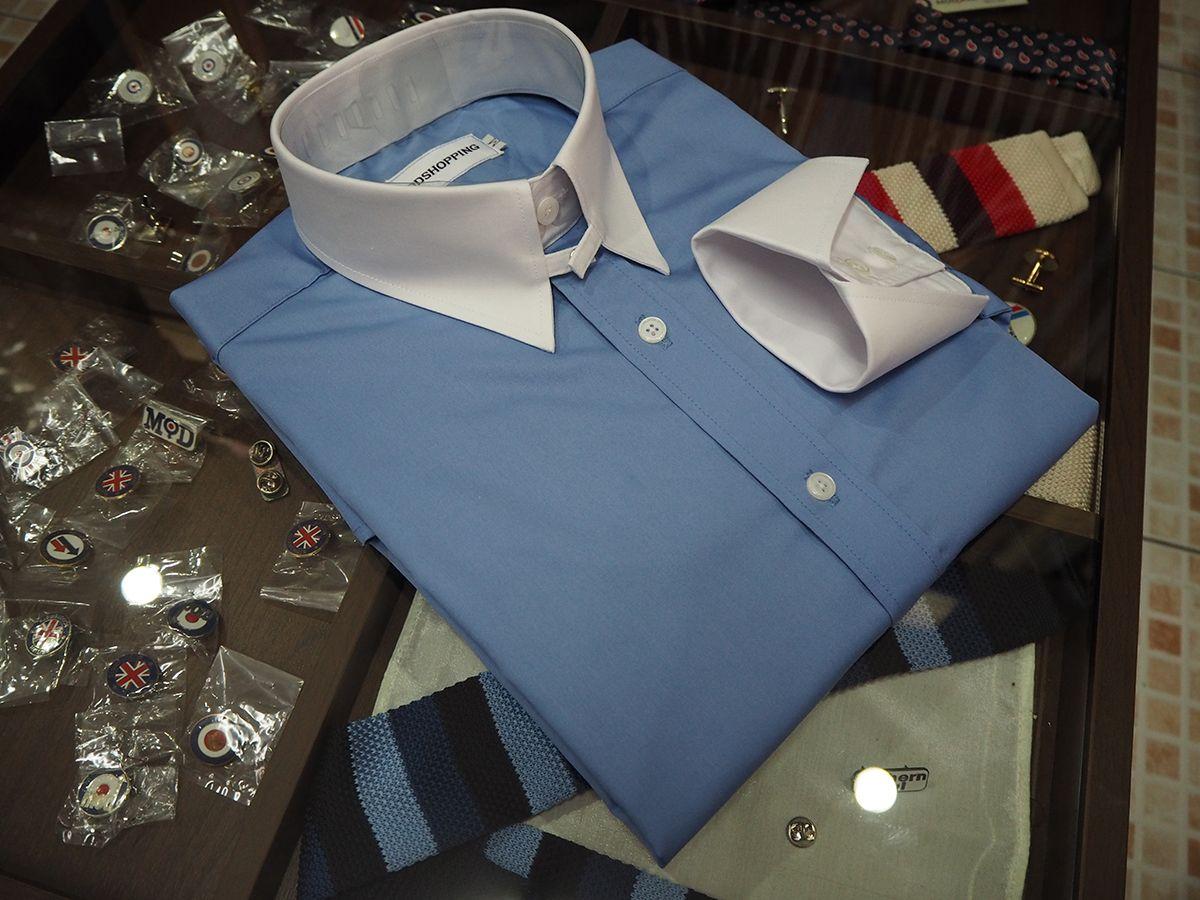 Tab Collar Shirt Spear Point Sky Blue Tab Collar Mod Shirt
